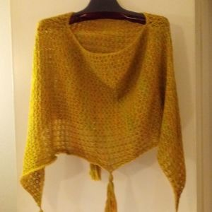 Multicolored Knit Poncho - One Size